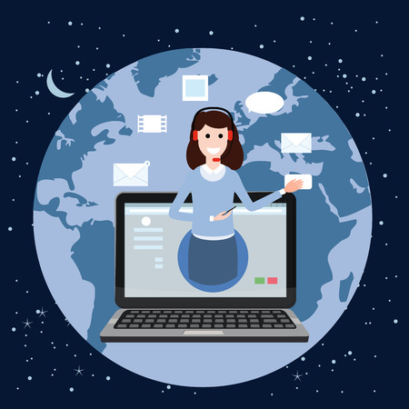 Concept online assistant, customer and operator, call centre, online global technical support 24-7. Earth background. Vector illustration female hotline operator advises client, virtual help service. Stock Photo