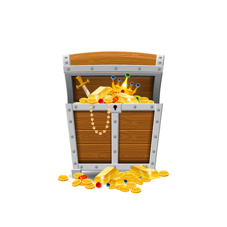 Wooden old pirate chests, full of treasures, gold coins, treasures, vector, cartoon style, illustration isolated