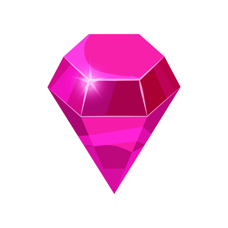 Diamond sparkling, shining pink color isolated on white background, cartoon style, vector illustration Reklamní fotografie