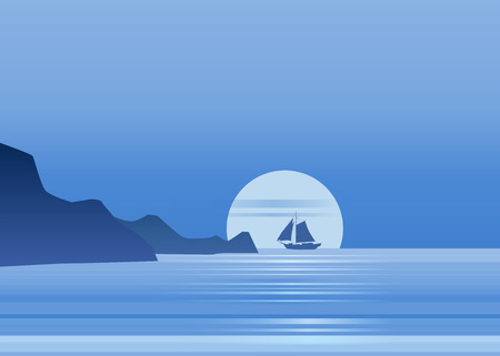 Night moonlight sailboat on blue sea ocean horizon, vector background, rock, sailing illustration 일러스트