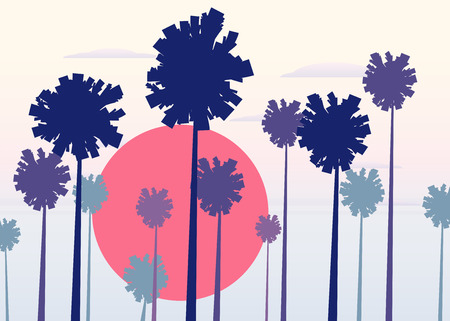 Tropical sunrise at seashore, sea landscape with palms, minimalistic illustration. Seascape sunrise or sunset.