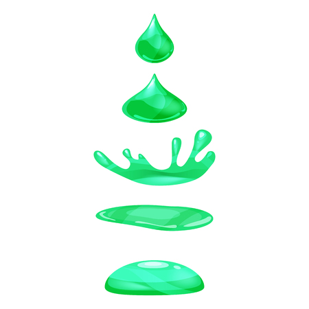 Drop of liquid, water falls and makes a splash, green colour. Phases, frames, for animation, cartoon style, vector, isolated Stock Photo