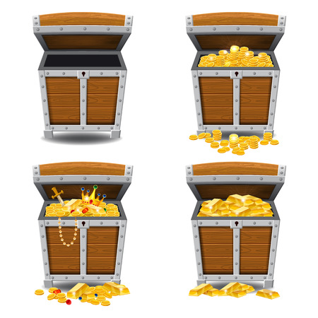 Set old pirate chests full of treasures, gold, vector, cartoon style illustration isolated