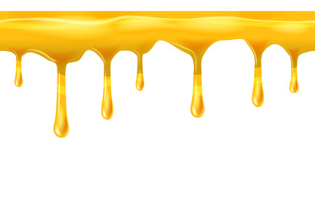 Dripping seamless honey, yellow, dripps, liquid drop and splash, isolated on white, vector and illustration. Stock Photo
