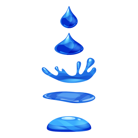 Drop of liquid, water falls and makes a splash, blue colour. Phases, frames, for animation, cartoon style, vector, isolated Stock Photo