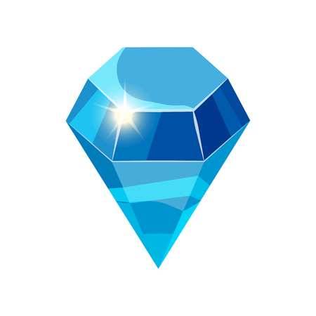 Diamond sparkling, shining blue color isolated on white background, cartoon style, vector illustration Reklamní fotografie - 111205050