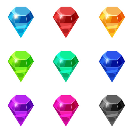 Set Diamonds isolated different colors on white background, cartoon style, vector illustration