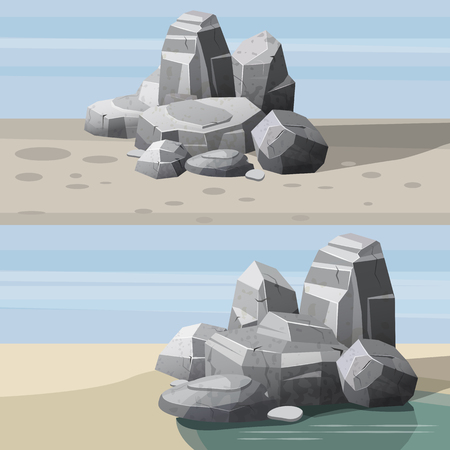 Rocks and stones single or piled for damage and rubble for game art architecture design, cartoon style, isolated Stock Photo