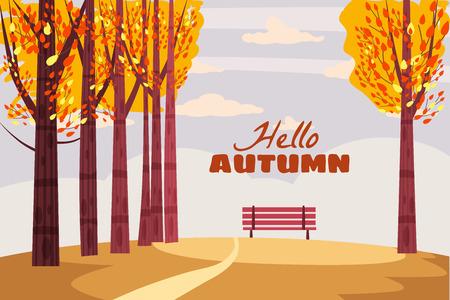 Herbstlandschaft, fallende Bäume mit gelben Blättern, einsame Bank zur Betrachtung der Herbstnatur, Vektor Vektorgrafik