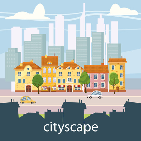 Urban landscape with large modern buildings and suburb with private houses. Street, highway with cars. Concept city and suburban life. Vector, cartoon style, isolated Illustration