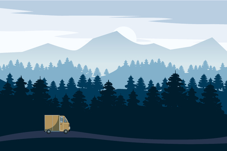 Highway drive with beautiful spruce forest landscape. Highway drive adventure travel Summer driving. Mountains horizon. Vector cartoon style