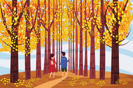 Autumn alley, two guy and girl characters walking along the path in the park, fall, autumn leaves, mood, color