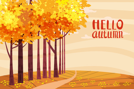 Hello autumn color illustration. In park postcard design. Open air outdoor walk. Early fall landscape cartoon banner. Autumn time fire trees park. Vector Illustration