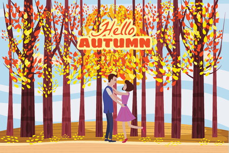 Hello autumn, Autumn alley, couple guy and girl characters meeting in the park, fall, autumn leaves