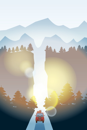 Route avec beau paysage de forêt d'épinettes. Voyage d'aventure sur autoroute Conduite d'été. Horizon des montagnes. Style de dessin animé de vecteur Vecteurs
