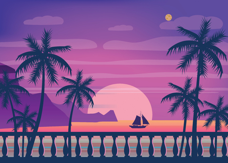 Tropical sunrise at seashore, sea landscape with palms, embankment, balusters, minimalistic illustration. Seascape sunrise or sunset.