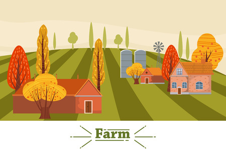 Farm modern flat cartoon design style vector illustration on green background with place for text. A countryside rural landscape autumn with a barn, windmill, haystacks, pond, silage towers, isolated