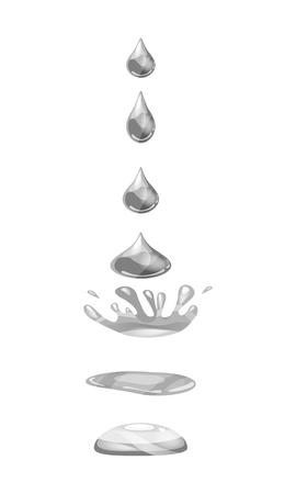 Ein Tropfen Flüssigkeit, Wasser fällt und spritzt