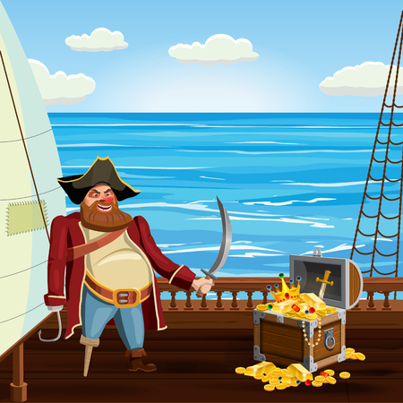 Old pirate with one leg and hook and saber, guards treasure chest on ship deck, vector, isolated, cartoon style