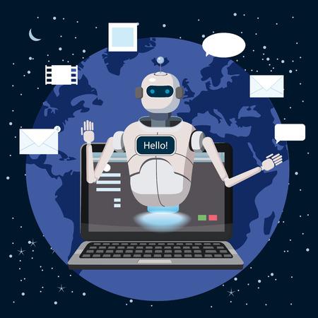 Bot di chat gratuito, assistenza virtuale robot sul computer portatile Say Hello elemento del sito Web o applicazioni mobili, concetto di intelligenza artificiale Cartoon illustrazione vettoriale Earth Background