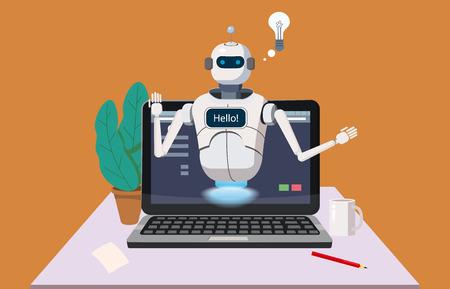 Bot de chat gratuito, asistencia virtual de robot en la computadora portátil Diga hola Elemento del sitio web o aplicaciones móviles, Ilustración de vector de dibujos animados de concepto de inteligencia artificial Fondo de oficina Ilustración de vector