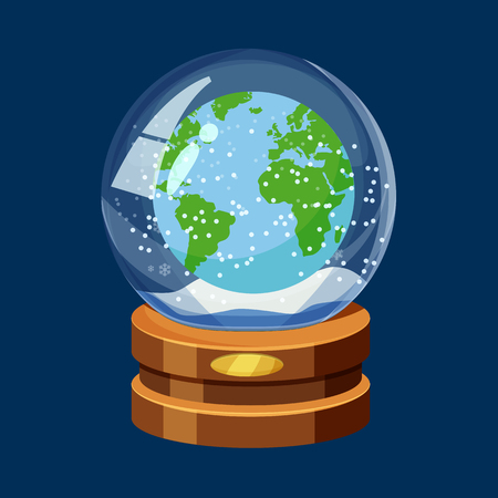 Snow globe with Earth planet, world map, snow
