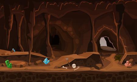 Grotta del tesoro con cristalli. Concetto, arte per giochi per computer. Immagine di sfondo per utilizzare giochi, app, banner, grafica. Illustrazione del fumetto vettoriale