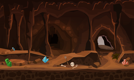 Treasure cave with crystals. Concept, art for computer game. Background image to use games, apps, banners, graphics. Vector cartoon illustration Ilustração