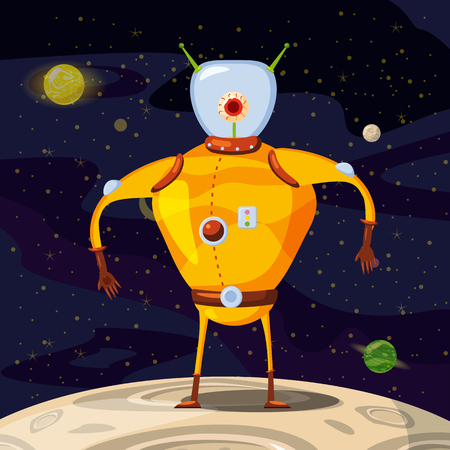 Alien in a spacesuit, cartoon style, background space, vector isolated