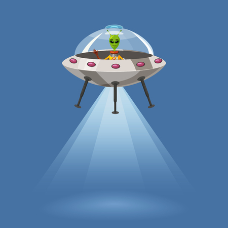 Ufo flying spaceship with alien, isolated on blue background, rays light, cartoon style, vector illustration. Concept, template Stock Photo