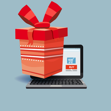 Laptop, noteebok with red gift box. Online shopping concept. Sale, e-commerce, retailing, discount theme. Creative flyer, poster template. Baner, poster, vector