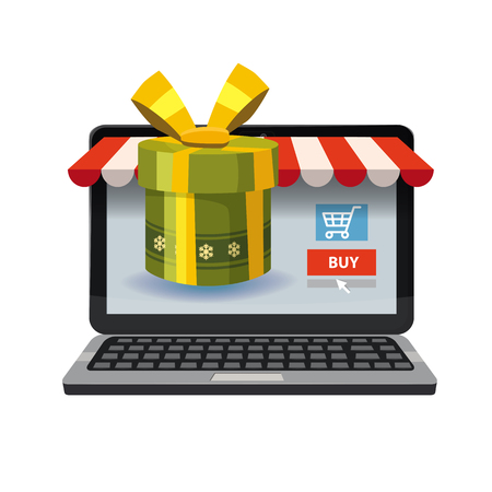 Laptop, noteebok with green gift box. Online shopping concept. Sale, e-commerce, retailing, discount theme. Creative flyer, poster template. Baner, poster, vector