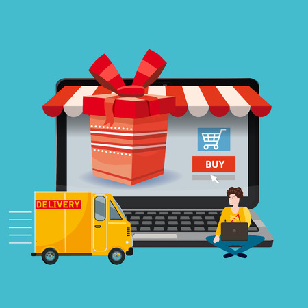 Laptop, noteebok with red gift box. Delivery track, People ordering a gift Online shopping concept. Sale, e-commerce, retailing, discount theme. Creative flyer, poster template. Baner, poster, vector