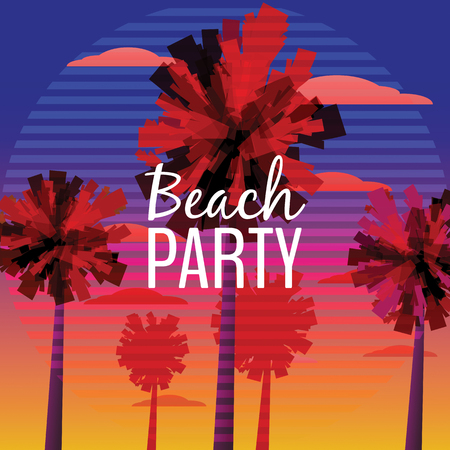 Beach Party Flyer, Baner, Invitation Design with typographic design on nature background with palm trees. Sunset ocean, sea. Stock Photo