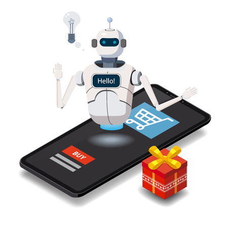 Isometric Science Chat bot, smartphone concept. On line store, shopping, assistent, sale e-commerce