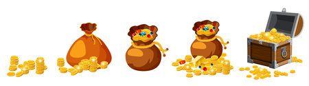 Set of old bags, purses, empty and full of gold, coins, brillants, treasures, chest, for gaming, applications vector isolated