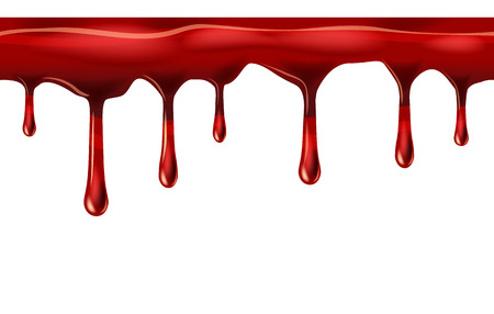 Dripping seamless red, dripps, liquid drop and splash, blood repeatable isolated on white, vector and illustration.