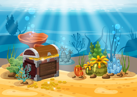Underwater landscape. The ocean and the undersea world with different inhabitants, corals and pirate chest . Web and mobiles game design. Cartoon style, isolated Stock Photo