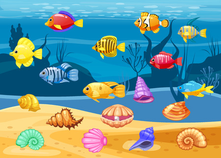 Cartoon Vector game icons with seashell, Colorful coral reef tropical fish, pearl, background underwater, for match three game, apps on white background.