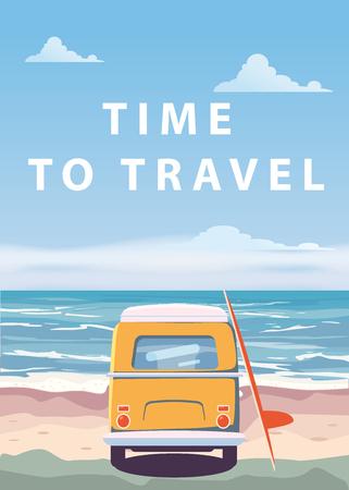 Travel, trip vector illustration. Ocean, sea, seascape Surfing van bus on beach Illustration
