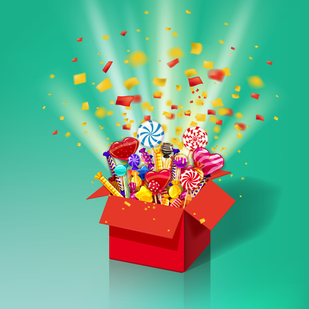 Christmas sweet gift box. Explosion of paper confetti. Open 3d-red box with yum, candy, jelly, sweets
