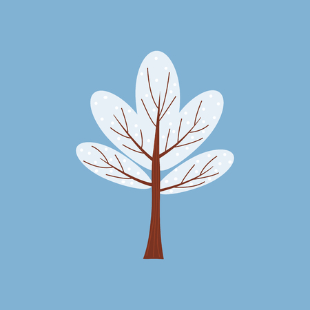 Winter tree decorate stylized, snow, naked. Vector, cartoon style, isolated
