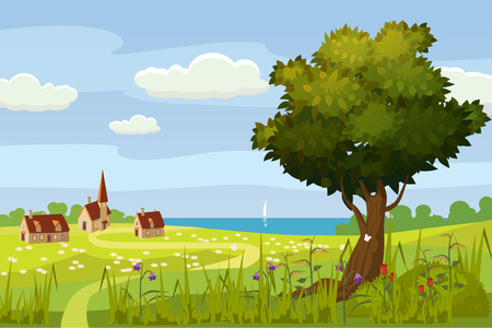 A rural cute landscape, a beautiful view, a farm, a house, fields of meadows, flowering flowers. cartoon style