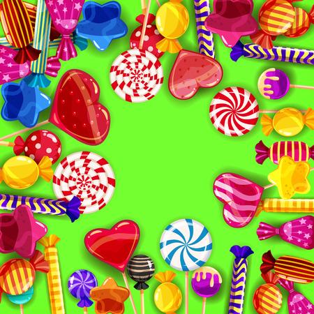 Süßigkeiten-Hintergrund-Set in verschiedenen Farben von Süßigkeiten, Süßigkeiten, Süßigkeiten, Süßigkeiten, Geleebohnen. Vorlage, Poster, Banner, Vektor, isoliert, Cartoon-Stil Vektorgrafik