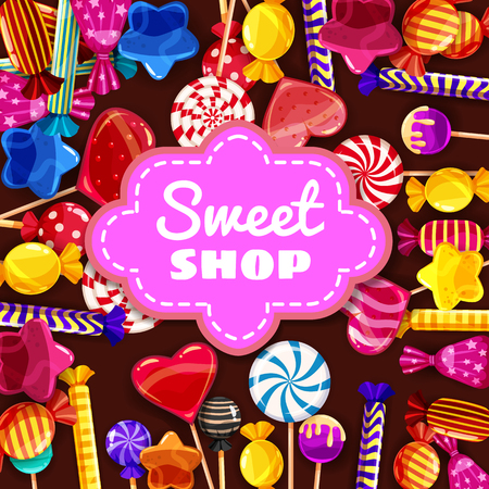 Candy Sweet Shop background set of different colors of candy, candy, sweets, candy, jelly beans. Template, poster, banner, vector, isolated, cartoon style Çizim