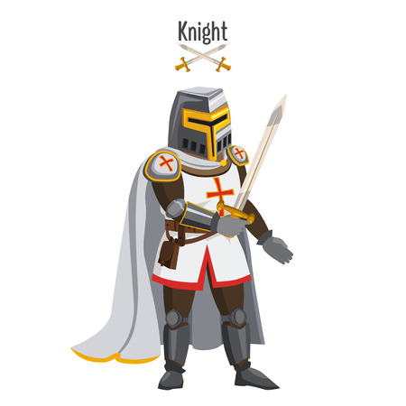 Medieval knight in armor, warroir, with a sword in his hand, cloak, helmet, attributes. Vector, illustration, cartoon style, isolated Standard-Bild - 112647371