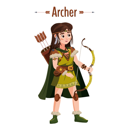 Archer girl warrior with bow, arrows, quiver. European medieval character in traditional costume. Vector Illustration isolated. Cartoon style Illustration