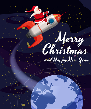 Santa Claus on a rocket flies in space around the Earth, Merry Christmas and Happy New Year. Winter, stars, vector, illustration, greeting, banner, poster, isolated