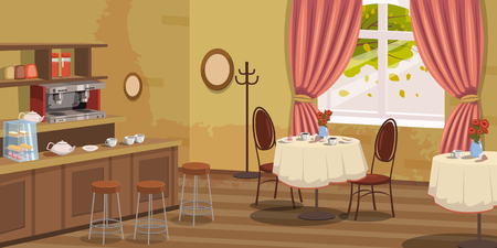 Coffee house, interior, rack, chairs coffee machine tables vector illustration