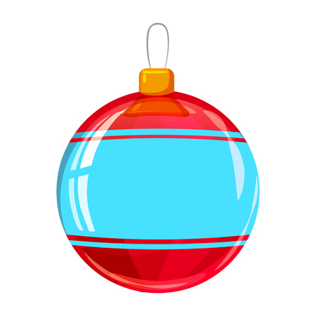 Colour decorated christmas red ball isolated on white background